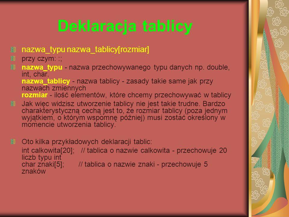 Deklaracja tablicy nazwa_typu nazwa_tablicy[rozmiar] przy czym: :;
